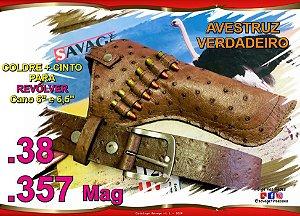 """Coldre + Cinto Couro Avestruz Verdadeiro Revólver .38 .357 mag Cano 6"""" ou 6' e 1/2'"""