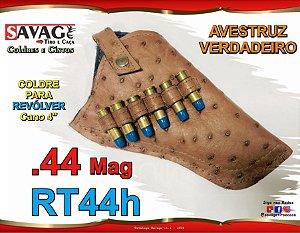 """Coldre Couro Avestruz Verdadeiro Revólver .44 Mag Cano 4"""" RT44h"""