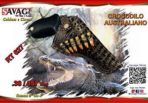 """Coldre Couro P Revólver .38 e .357 - Cano de 4"""" - Crocodilo Australiano"""
