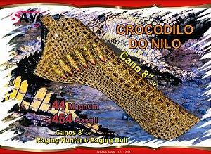"""Coldre Couro P Revólver .44 .454 Casul - Cano 8"""" 3/8' - Crocodilo do Nilo"""