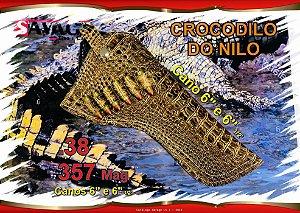 """Coldre Couro P Revólver .38 .357 - Cano 6,5"""" - Crocodilo do Nilo"""