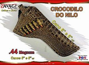 """Coldre Couro P Revólver .44 - Cano 6,5"""" - Crocodilo Nilo"""
