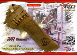 "Coldre Couro Conforto P Revólver .38 .357 Mag - Cano 8"" 3/8' - Balaios + Javali"