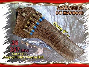 "Coldre Couro P Revólver .357 - Cano 8"" 3/8' - Crocodilo Marinho"