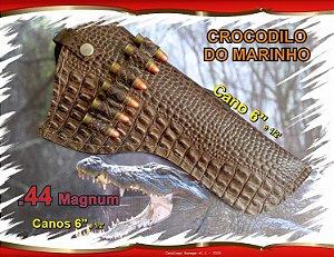 "Coldre Couro P Revólver .44 - Cano 6,5"" - Crocodilo Marinho"