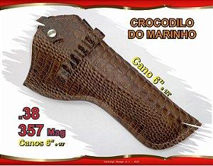 "Coldre Couro P Revólver .38 .357 - Cano 6,5"" - Crocodilo Marinho"