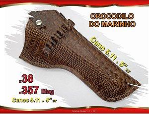 "Coldre Couro P Revólver .357 - Cano 5.11 e 5"" 1/8' - Crocodilo Marinho"