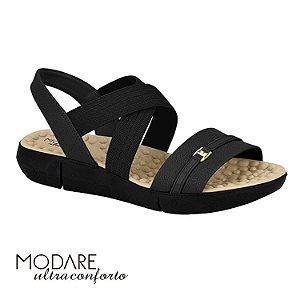 Sandália Modare Confort Elástico Cruzado Preta