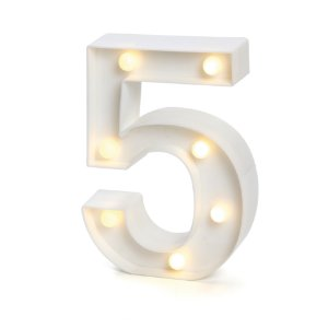 LUMINOSO C/LED BRANCO NUMERO 5 - UN X 1
