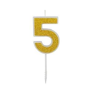 VELA PURO GLITTER OURO NUMERO 5 - UN X 1