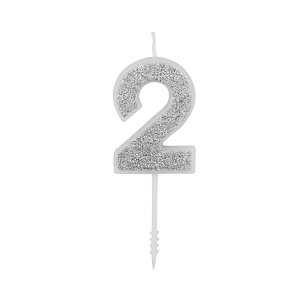 VELA PURO GLITTER PRATA Nº 2 - UN X 1