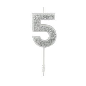 VELA PURO GLITTER PRATA Nº 5 - UN X 1