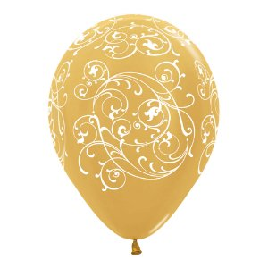 BALAO LATEX IMP 360 SATIN FILIGREE DOURADO R12 - UN X 1