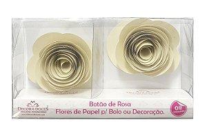 FLOR PAPEL BOTAO DE ROSA C/2 CREME - UN X 1