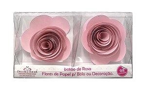 FLOR PAPEL BOTAO DE ROSA C/2 ROSA CLARO - UN X 1