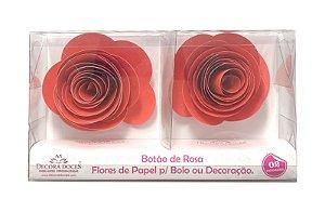 FLOR PAPEL BOTAO DE ROSA C/2 VERMELHO - UN X 1