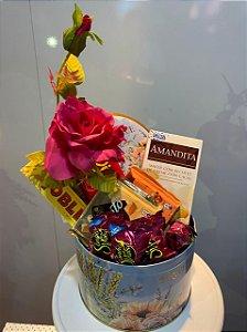 kit Lata com flor