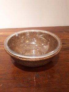 Bowl vidro sup. Rattan Maya M 28x11cm