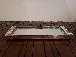 Bandeja de Prata retangular espelhada 35x25cm