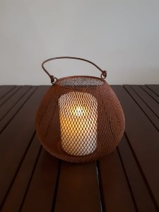 Lanterna metal Mesh 1 P ferr 19x25cm