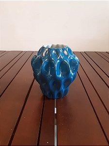 Vaso Porcelana Plissan turq P 16x11x7cm