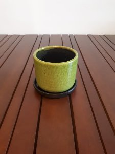 Cachepot Cerâmica c/ prato P vde 12x14cm
