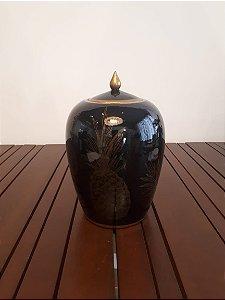 Potiche Porcelana Abacaxi M pto/dour 25x25x40cm