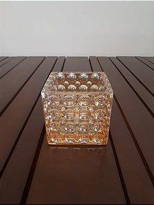 Vaso Vidro Bolhas M ambar 13x13x13cm