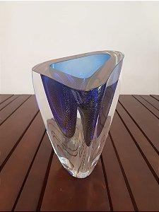 Vaso Cristal M Triangulo azul/ouro 17x13cm