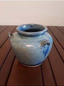 Vaso Cerâmica P azul 13x14cm