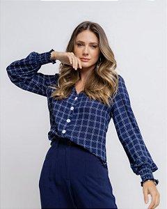 Blusa Detalhe Lastex Estampada Cora