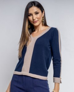 Suéter Bicolor Tricot