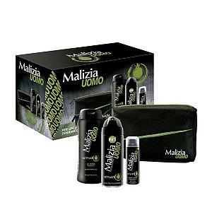 Malízia Kit Masculino (Desodorante Corporal 175ml + Espuma de Barbear 50ml + Sabonete Líquido 250ml+ Nécessaire)