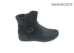 Mooncity Bota Feminina Rasteira 71071 - Preto