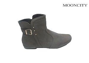 Mooncity Bota Feminina Rasteira 71025 - Marrom