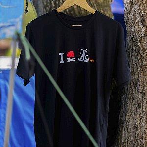 Camiseta I Love Camping 100% Algodão Estampada em Silk Screen