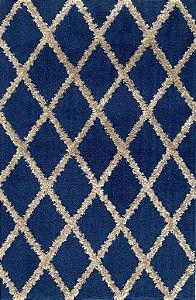 Tapete Duo Losango 1,00 X 1,50 Azul/Areia