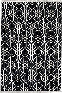 Tapete Kilim 2,00 X 3,00 AB08 Branco/Preto Frente e Verso