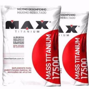 Combo 2x Hipercalórico- Mass Titanium 17500 3kg - Max Titanium  VITAMINA DE FRUTAS