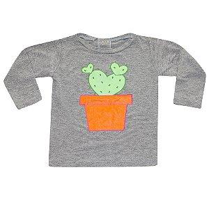 Camiseta Manga Longa Cacto Vasinho Coração