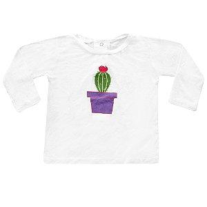Camiseta Manga Longa Cacto Vasinho Flor