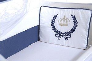 Kit Mini Berço Carinhoso Coroa 9 peças Branco/Azul Marinho