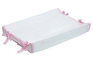 Trocador de Cômoda Americano Branco / Rosa Claro