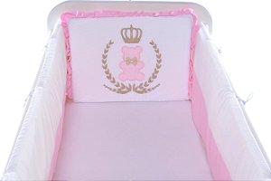 Kit Mini Berço  Carinhoso Coroa Urso Rosa 9 peças