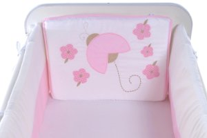 Kit Mini Berço Carinhoso Joaninha 9 peças Branco/Rosa