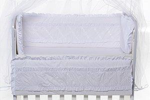Kit Mini Berço Moisés Luxo Glamour 7 Peças 100 % Algodão Branco