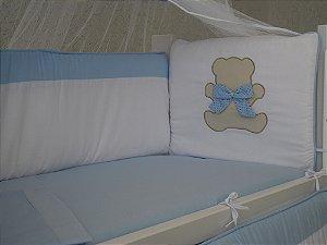 Kit Mini Berço Moisés Urso Ted Azul Bebê  7 Peças 100 % Algodão