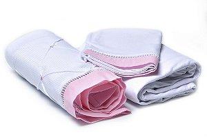 Jogo de Lençol Mini Berço 3 Peças Malha 100% Algodão Branco / Rosa Claro