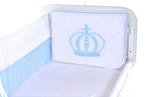 Kit Mini Berço Coroa Azul Bebê 9 peças