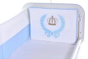 Kit Mini Berço Carinhoso Coroa 9 peças Branco/Azul Bebê